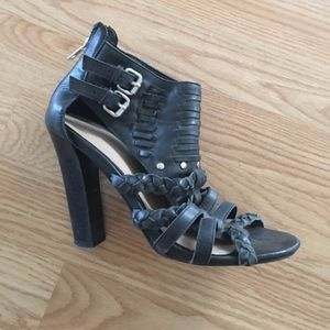 Candela Black Leather Strappy Heel Sandals size 6